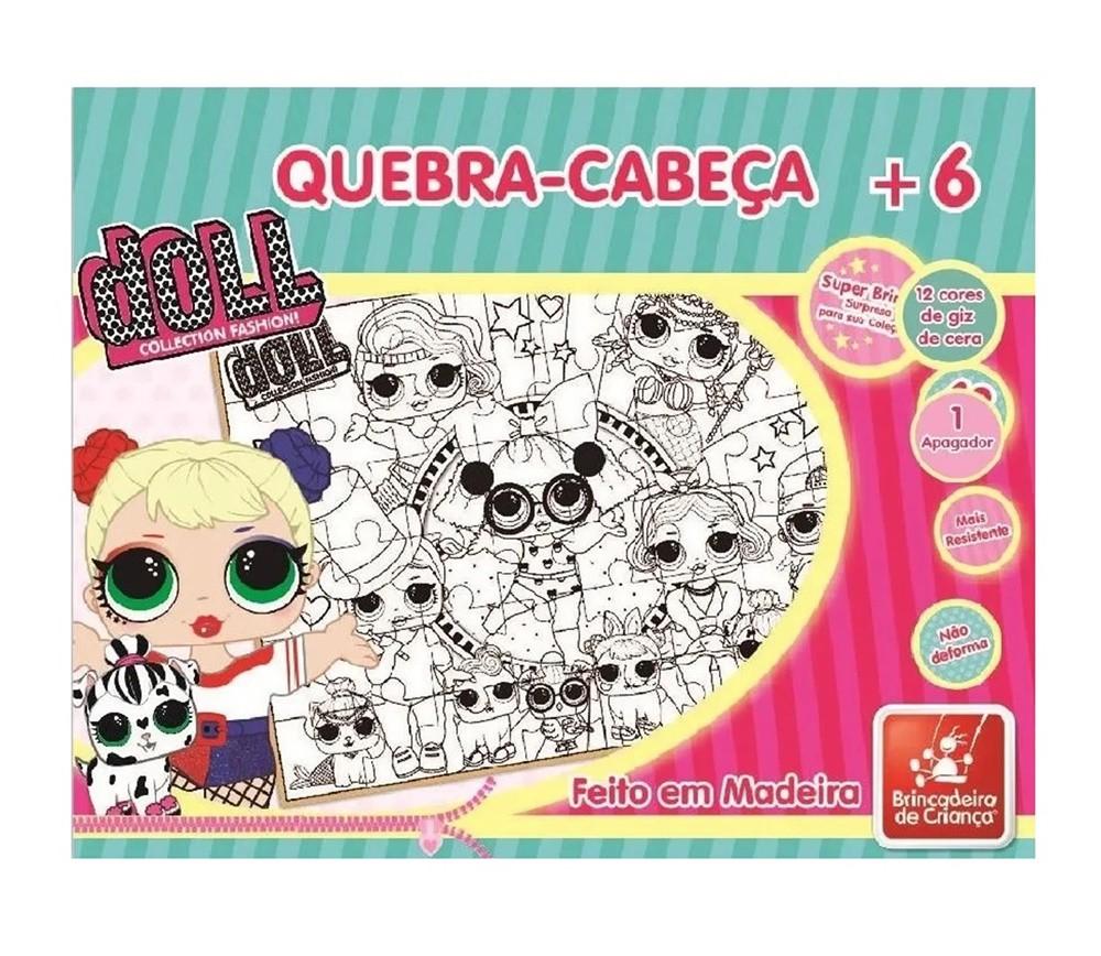 Quebra-cabeça Doll 48 Peças em Madeira Para Colorir - Brincadeira de Criança