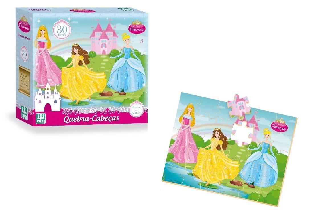 Quebra-cabeça Era Uma Vez Princesas 30 Peças em Madeira - Nig Brinquedos