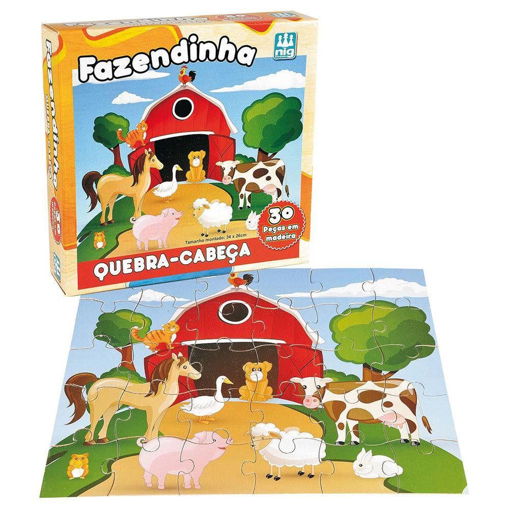 Quebra-cabeça Fazendinha 30 Peças em Madeira - Nig Brinquedos