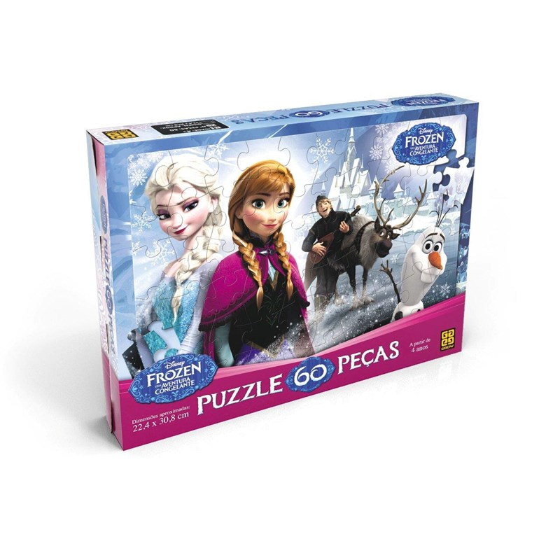Quebra Cabeça Frozen Disney Puzzle com 60 Peças - Grow