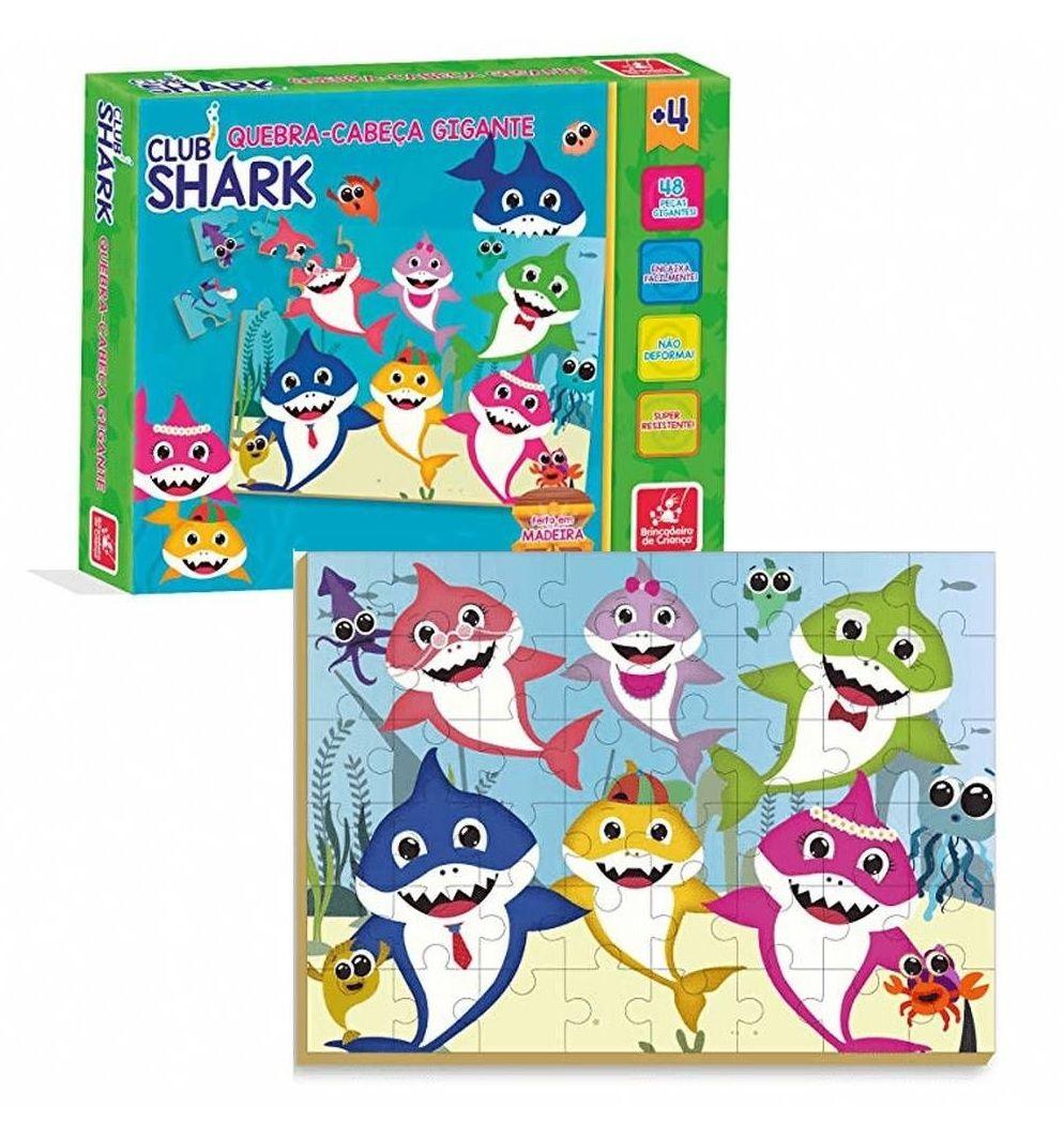 Quebra-cabeça Gigante Club Shark 48 Peças em Madeira - Brincadeira de Criança