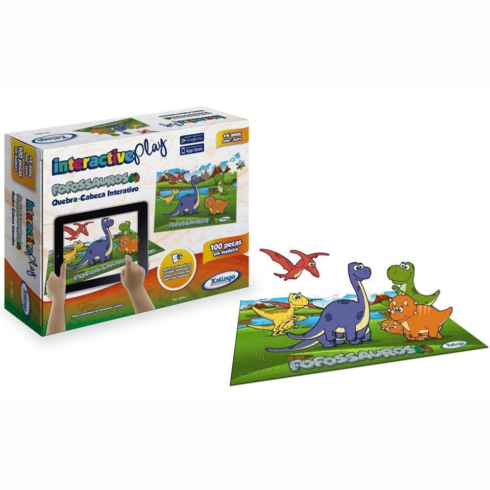 Quebra-cabeça Interativo Fofossauros Interactive Play 100 Peças em Madeira - Xalingo