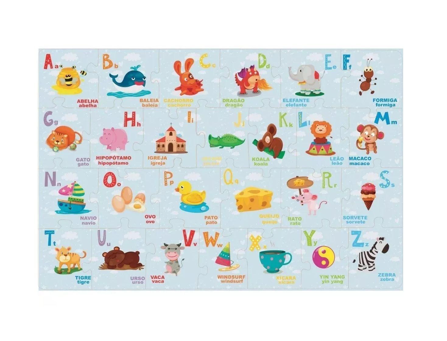 Quebra-cabeça Montando o Alfabeto 26 Peças em Madeira - Brincadeira de Criança