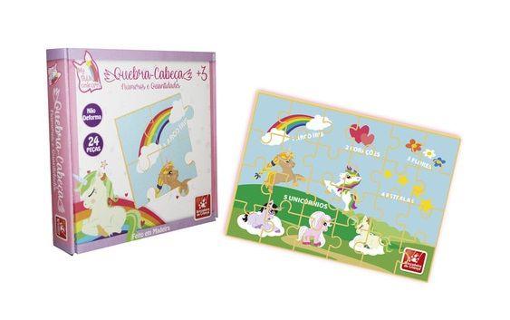 Quebra-Cabeça My Little Unicórnio Números e Quantidades 24 Peças - Brincadeira de Criança