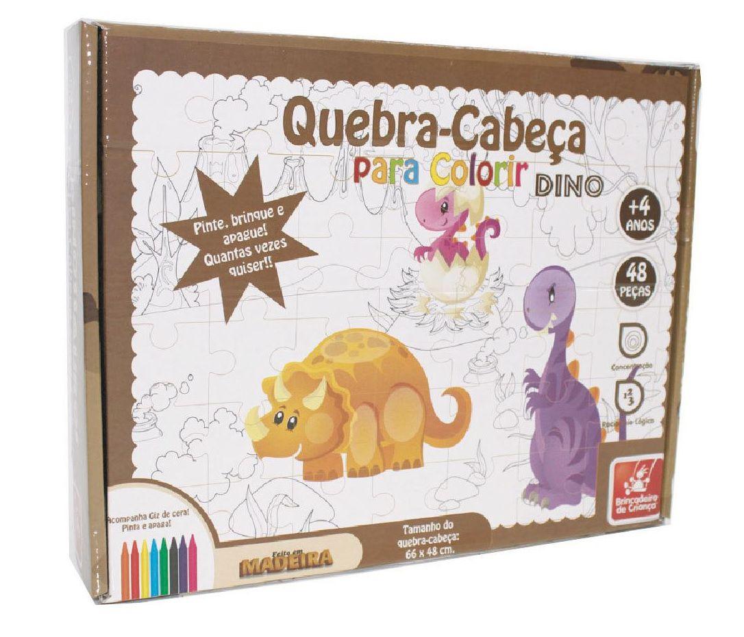Quebra-cabeça para Colorir Dinossauros 48 Peças em Madeira - Brincadeira de Criança