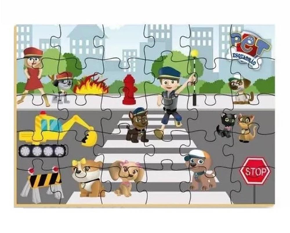 Quebra-cabeça Pet Esquadrão 30 Peças em Madeira - Brincadeira de Criança