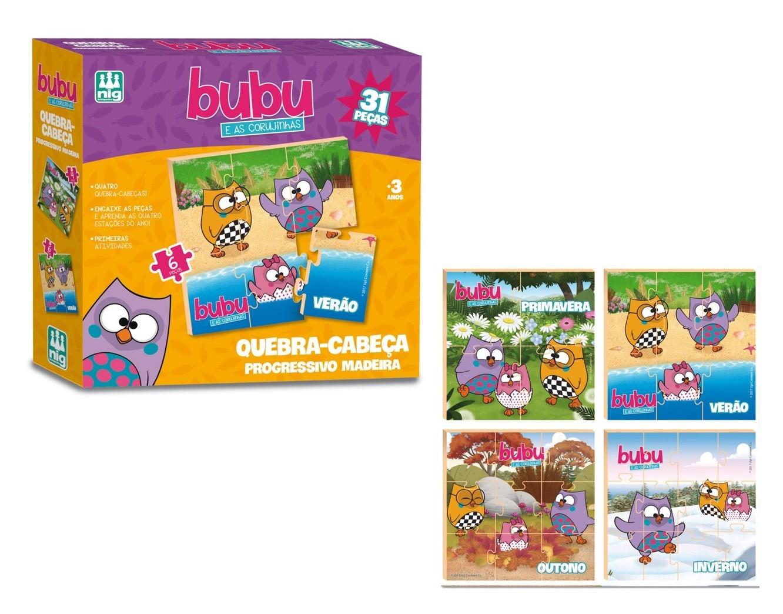 Quebra-cabeça Progressivo Bubu e as Corujinhas 31 Peças Madeira - Nig Brinquedos