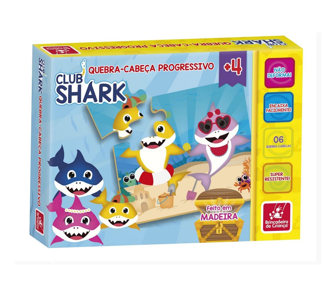 Quebra-cabeça Progressivo Club Shark em Madeira - Brincadeira de Criança