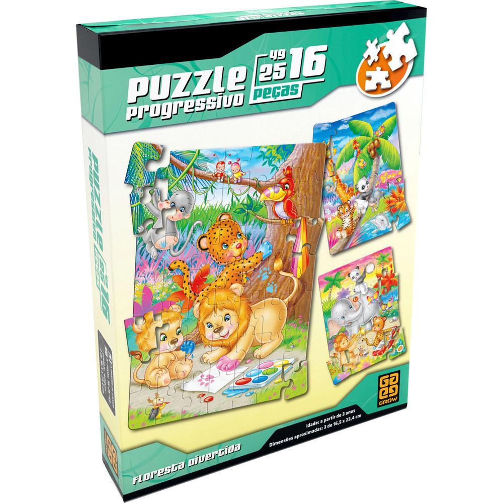 Quebra Cabeça Progressivo Floresta Divertida Puzzle 16/25/49 Peças - Grow