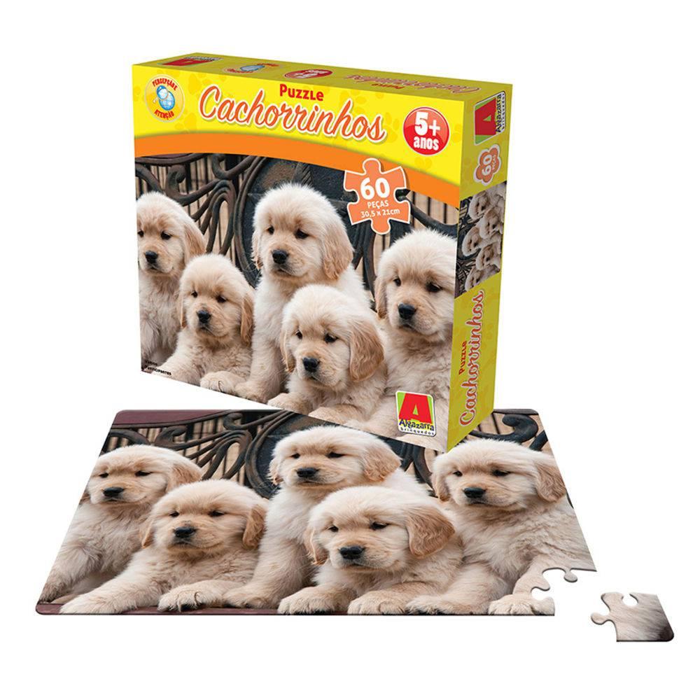 Quebra-cabeça Puzzle Cachorrinhos com 60 Peças - Algazarra