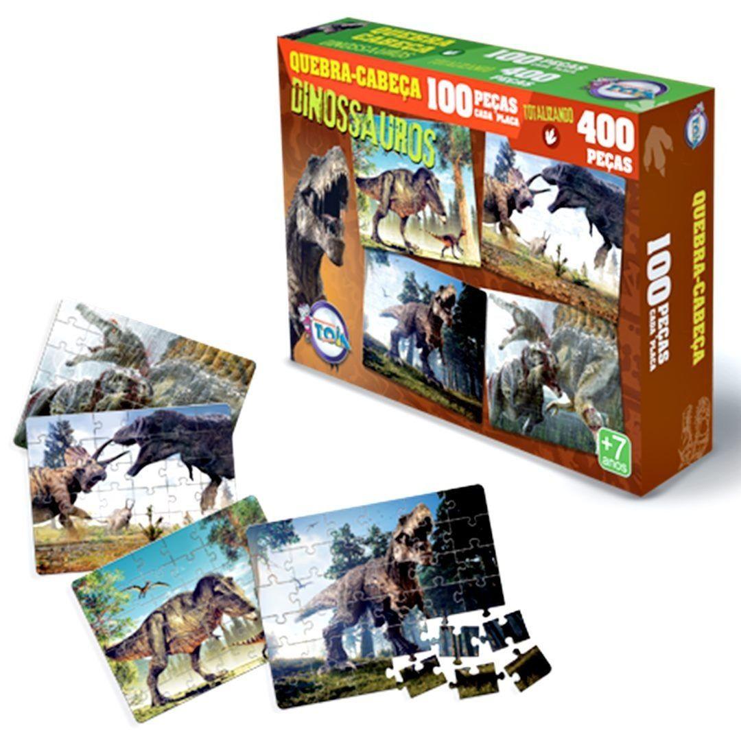 4 Quebra-cabeças Dinossauros com 100 Peças Cada Placa - Toia Brinquedos