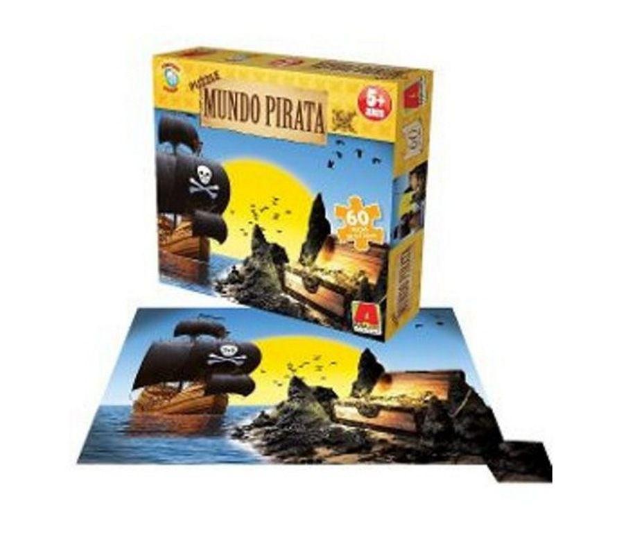 Quebra-cabeça Puzzle Mundo Pirata com 60 Peças - Algazarra