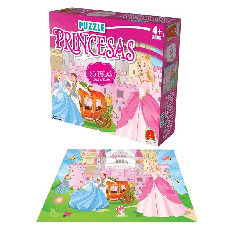 Quebra-cabeça Puzzle Princesas 60 Peças - Algazarra