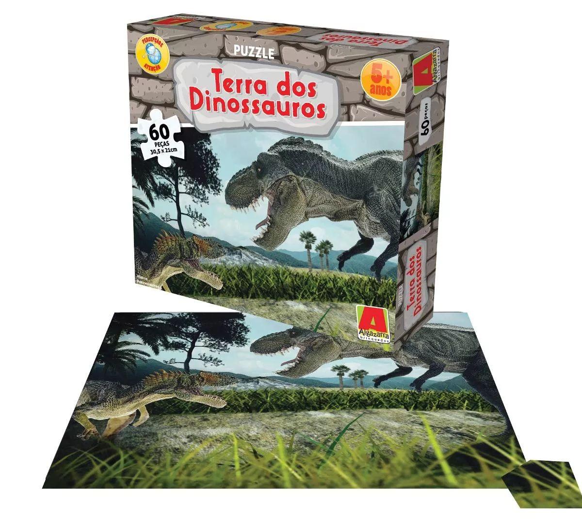 Quebra-cabeça Puzzle Terra dos Dinossauros 60 Peças - Algazarra