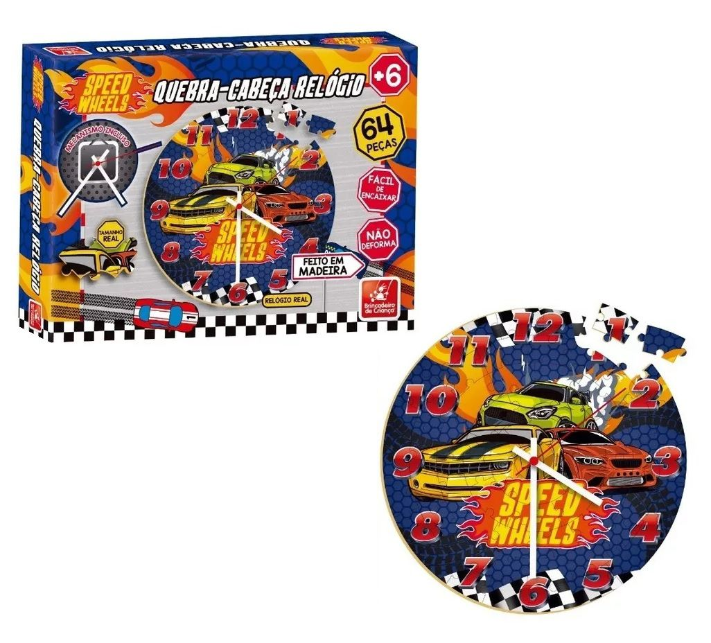 Quebra-cabeça Relógio Speed Wheels 64 Peças em Madeira  - Brincadeira de Criança