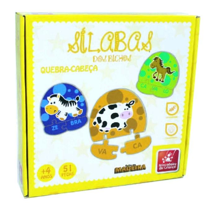 Quebra-cabeça Sílabas dos Bichos em Madeira - Brincadeira de Criança