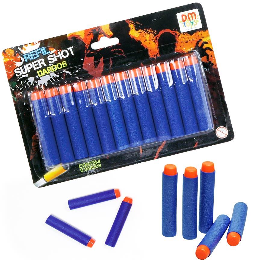 Refil Super Shot com 12 Dardos - Dm Toys