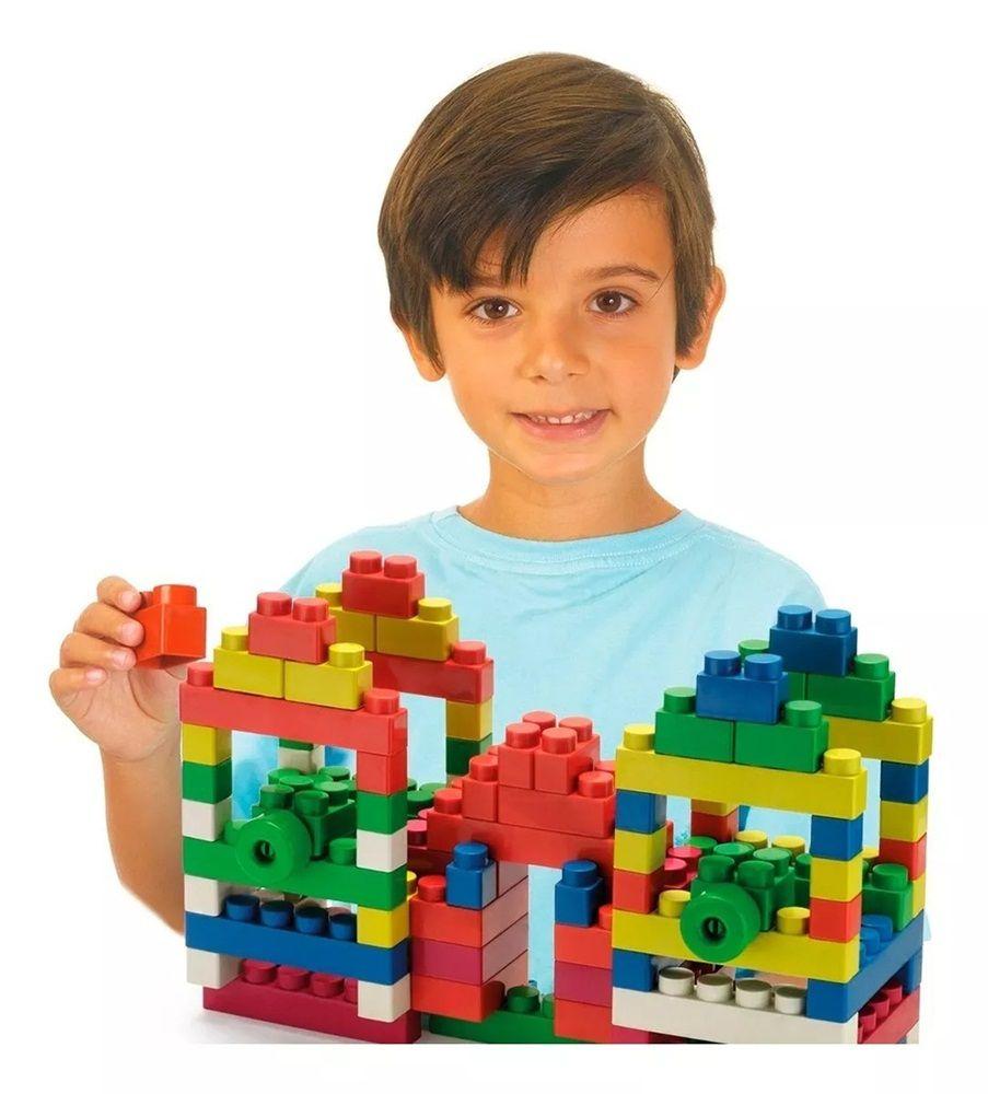Blocos de Montar Super Blocks Bolsa 80 Peças Grandes Sortidos - World Blocks Kids