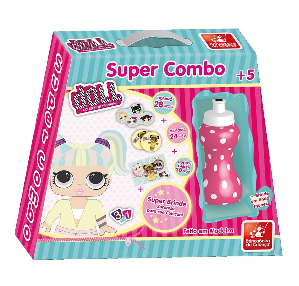 Super Combo 3 em 1 Doll em Madeira - Brincadeira de Criança
