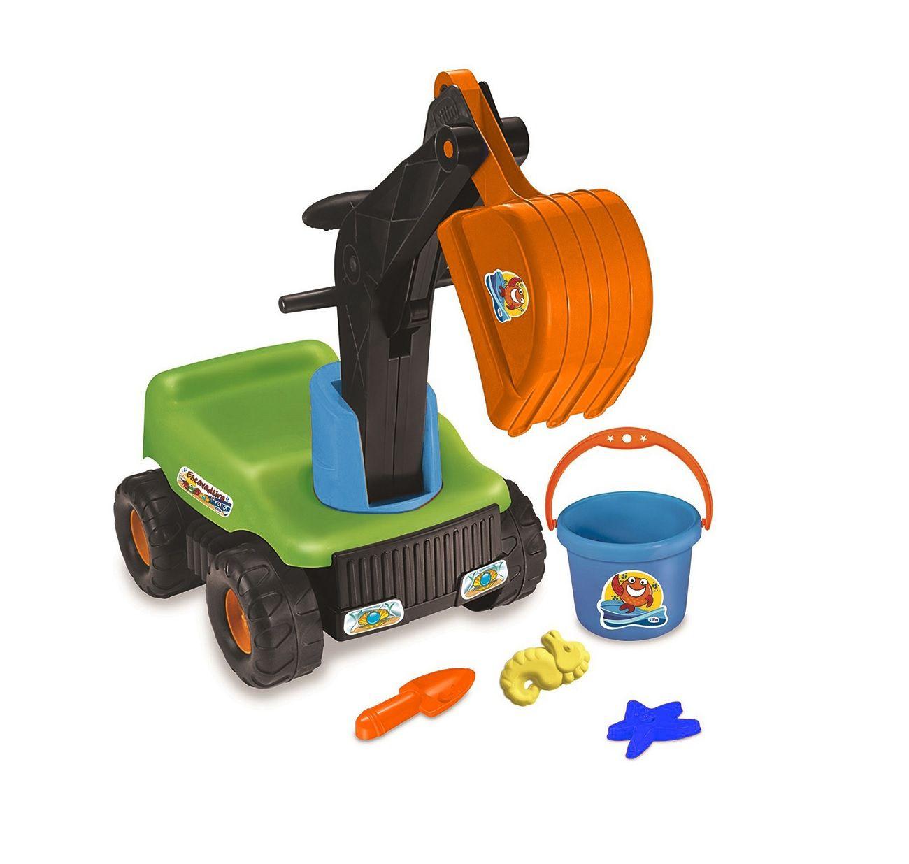 Trator Escavadeira Praia com Acessórios Sortidos - Tilin Brinquedos
