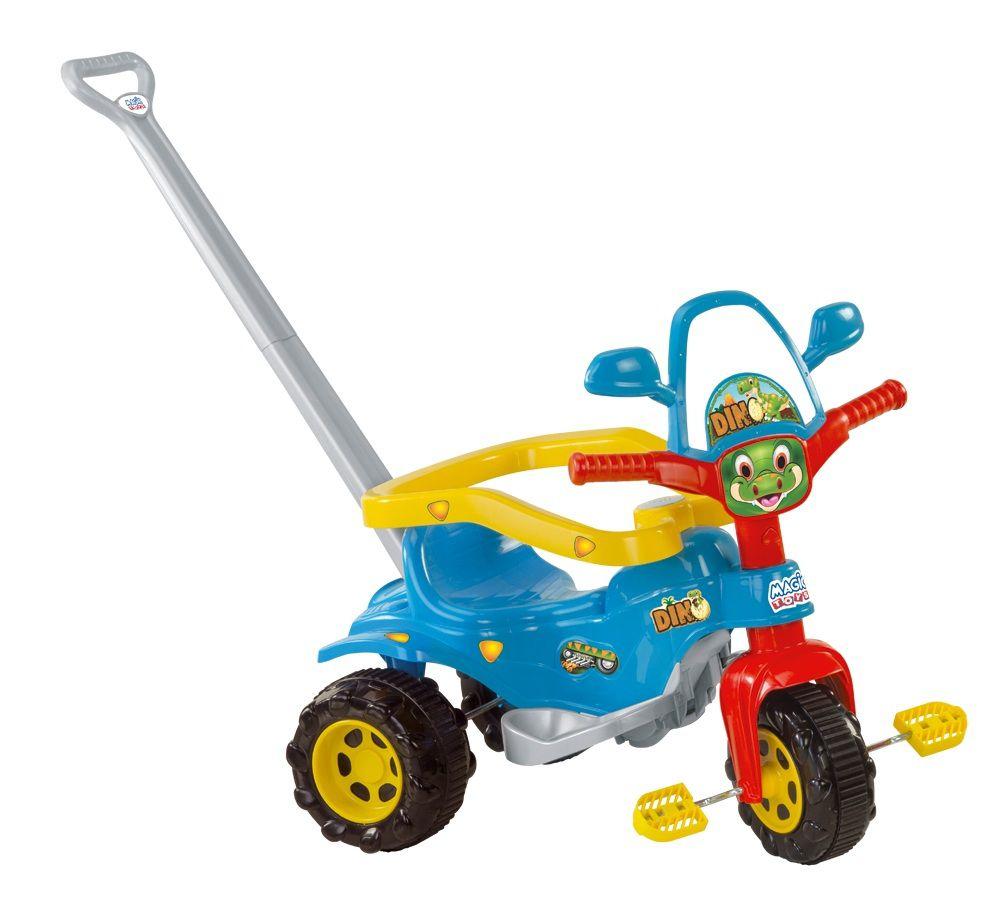 Triciclo Coleção Dino Tico-Tico Dino Azul com Som e Empurrador - Magic Toys