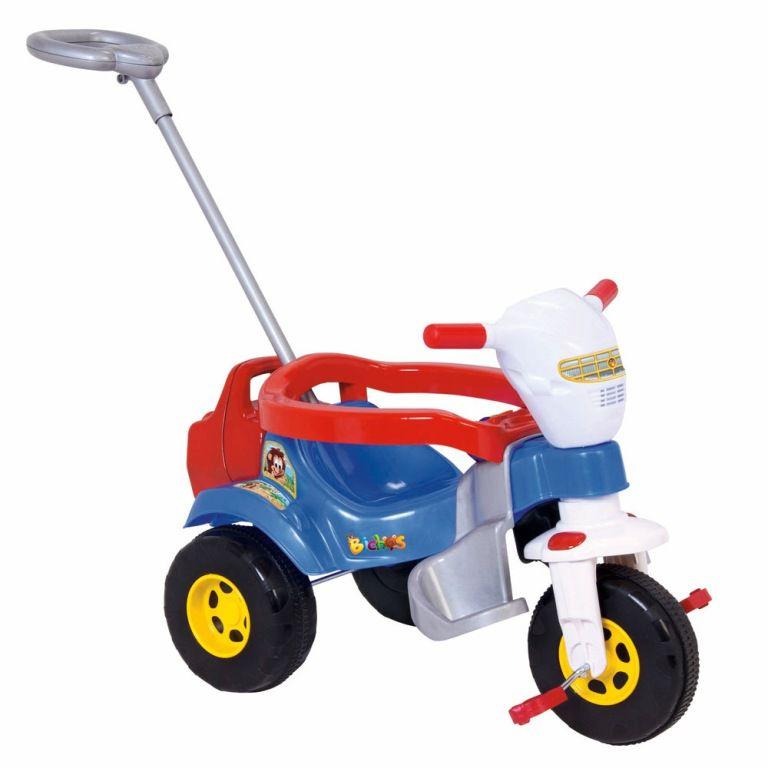 Triciclo Tico Tico Bichos com Som Luzes e Empurrador Azul - Magic Toys