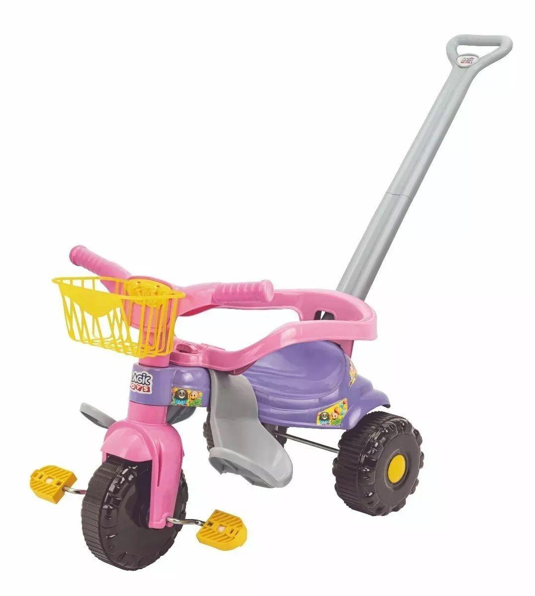 Triciclo Coleção Festa Tico-Tico Festa Rosa com Empurrador - Magic Toys
