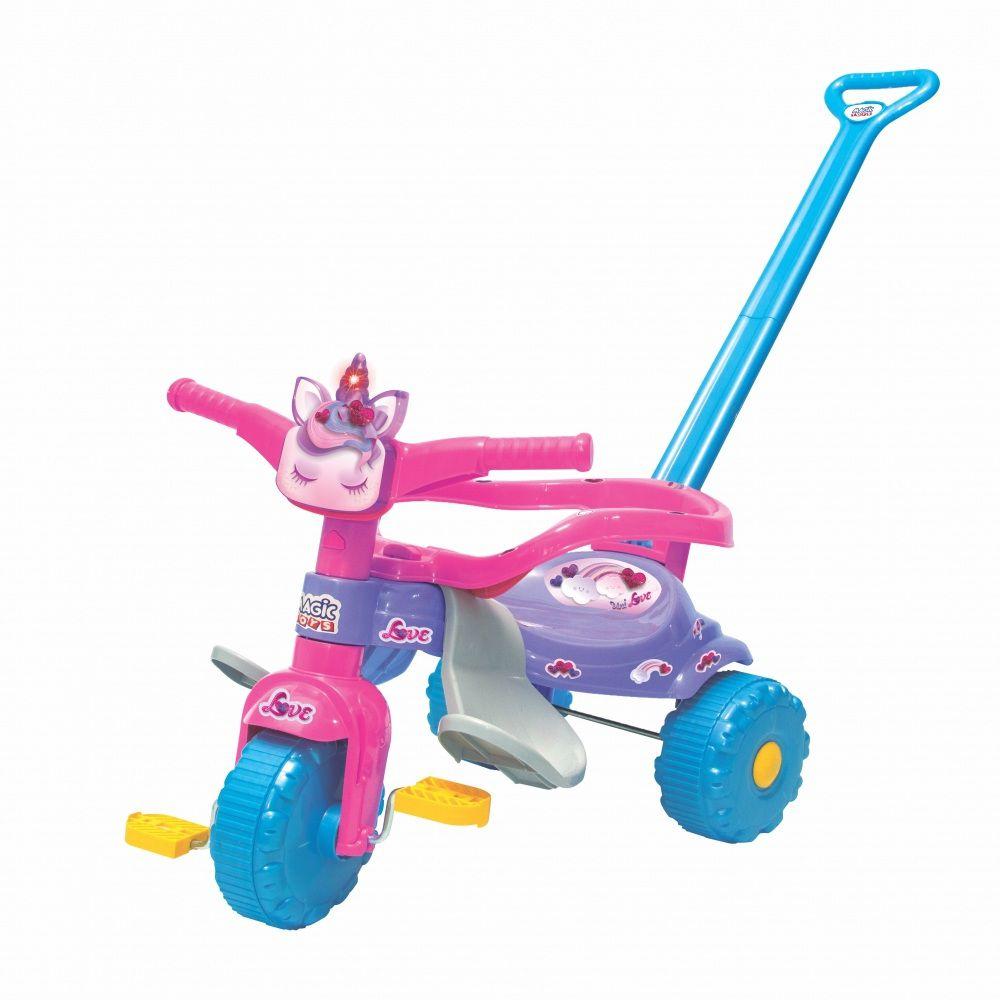 Triciclo Coleção Unicórnios Tico-Tico Uni Love com Luz e Empurrador - Magic Toys