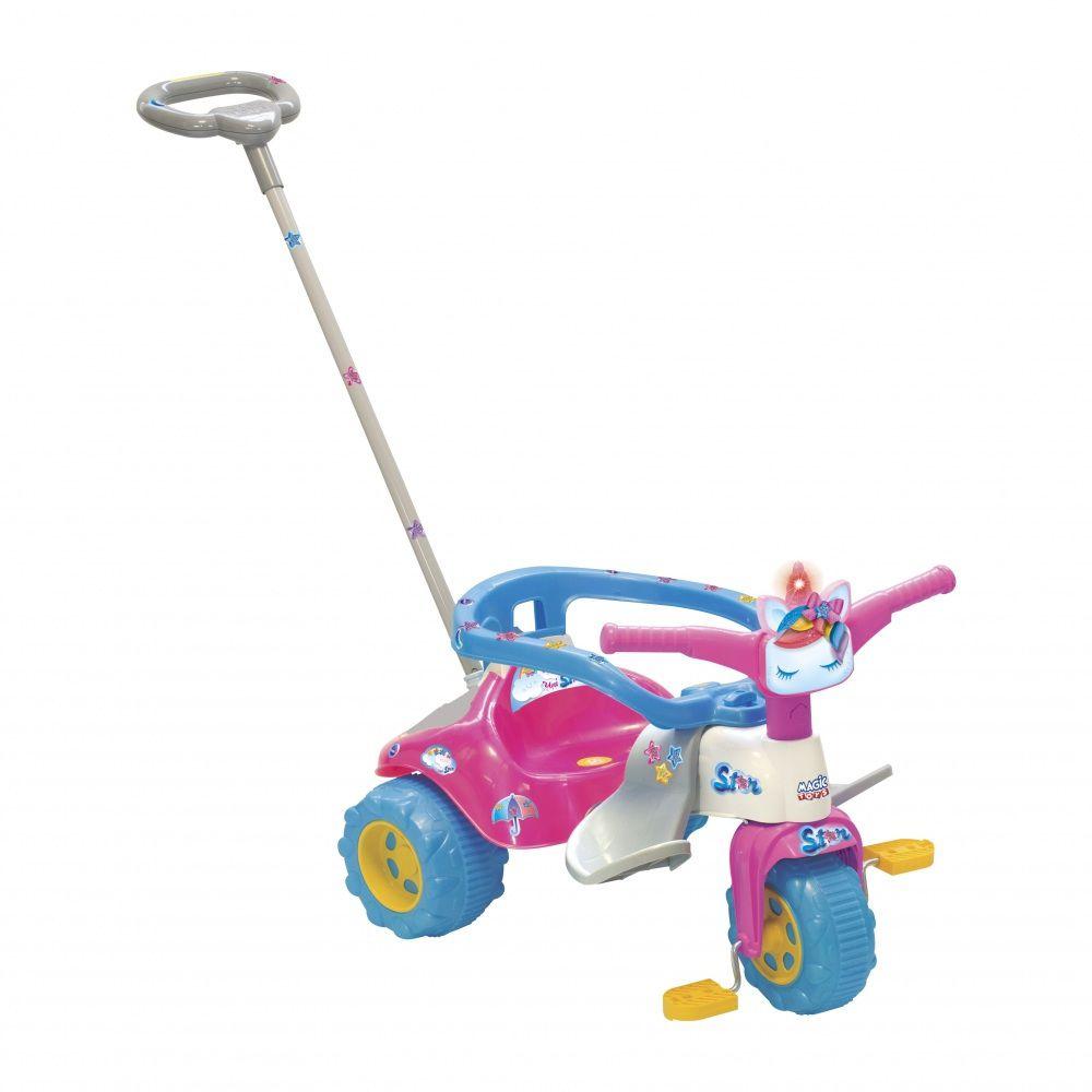 Triciclo Tico Tico Uni Star com Luz e Empurrador - Magic Toys