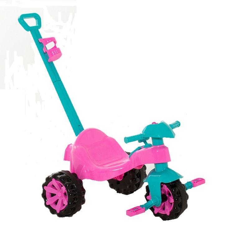 Triciclo Toy Kids Rosa com Empurrador - Paramount