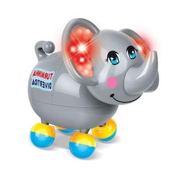 Turminha Divertida Elefante com Luz e Som - Azul/ Cinza - Zoop Toys