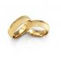 Aliança Acetinada 3 Pedras  Banhada Ouro 24k Anatômica (par)