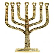 Candelabro Menorah Judaico 7  Velas Israel - Bronze Maciço