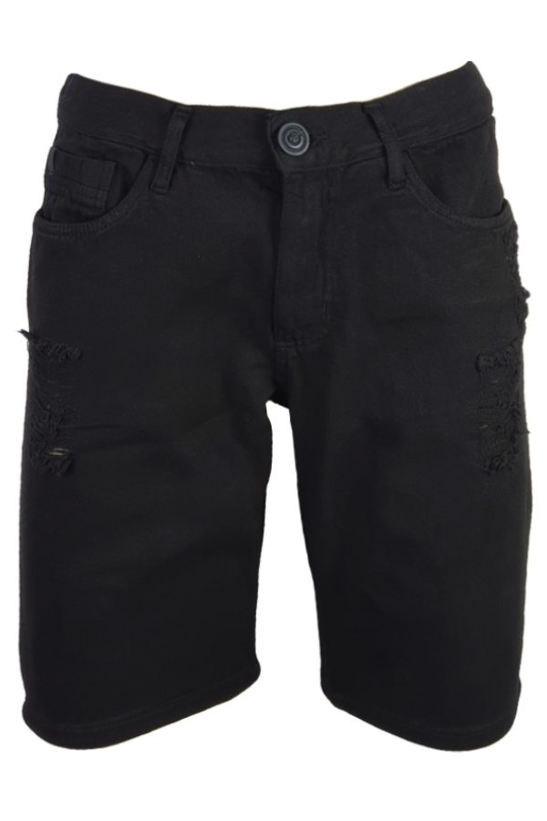 Bermuda Jeans Color Rasgado Preto