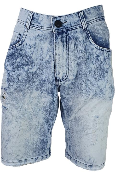 Bermuda Jeans Lavagem Clara Rasgado