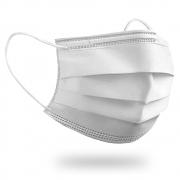 Máscara Cirúrgica Descartável Tripla Com Elástico - Branca - 50 Unidades - BRAFA