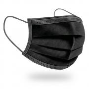 Máscara Cirúrgica Descartável Tripla Com Elástico - Preta - 50 Unidades - BRAFA