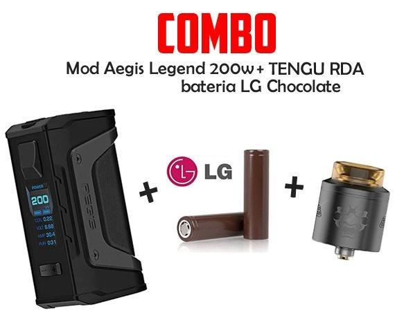 MOD Aegis Legend 200w Com 2 Baterias LG Chocolate Com Atomizador TENGU RDA - Geekvape