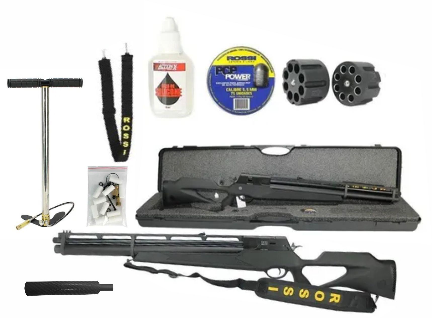 Combo Carabina PCP R8 Black Rossi 5,5mm + Bomba + supressor