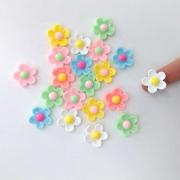 Aplique Florzinha de Resina 20 unidades Flor Artesanato