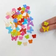 Botão Borboleta Colorida 50 unidades costura artesanato