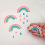 Cartela Arco-Íris de Feltro - 5 unidades chuva de amor