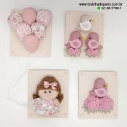Conjunto de quadros Boneca Rosa Antigo