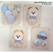Conjunto de Quadros Urso azul com bege