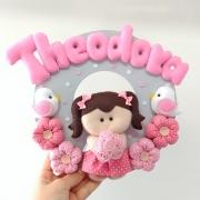 Enfeite Porta Maternidade Boneca Flores