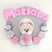 Enfeite Porta Maternidade Ursa Rosa Cinza