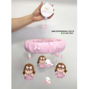 Móbile de Berço Musical Bonecas Rosa bebê