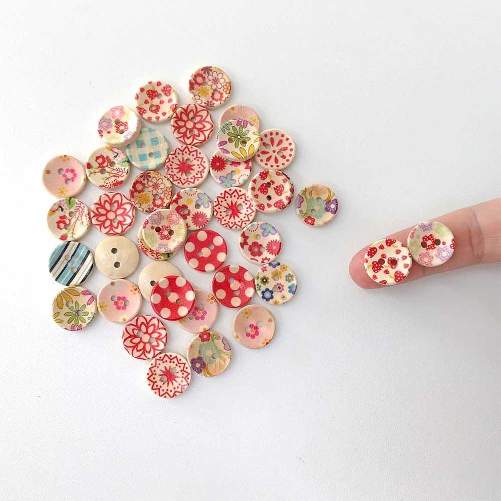 Botão de Madeira Estampado 50 unidades costura Patchwork artesanato