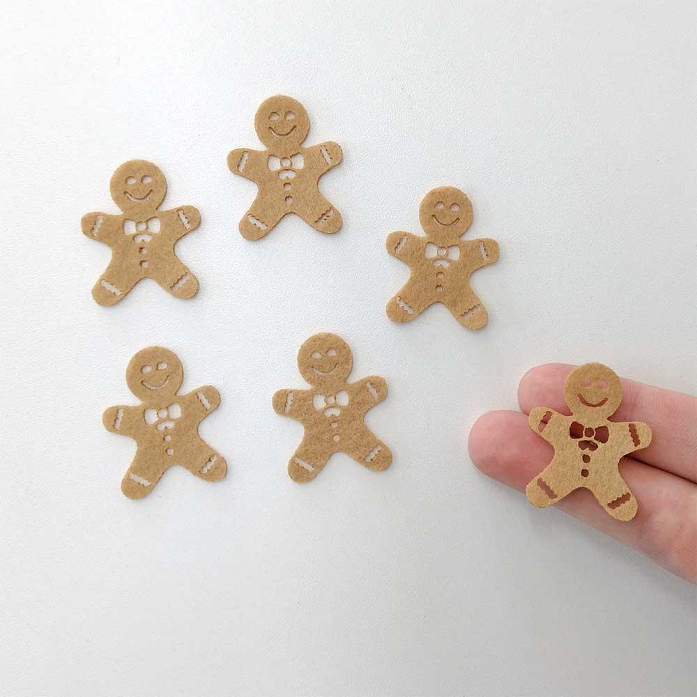 Cartelinha Biscoito de Natal 12 unidades recorte feltro Aplique Natalino