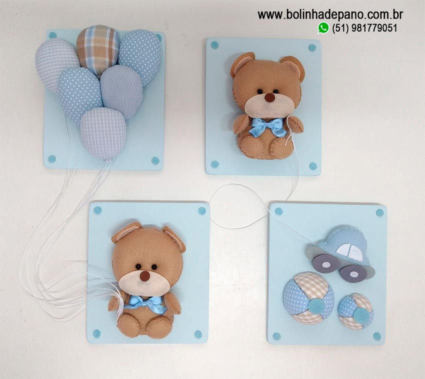 Conjunto de Quadros Urso Azul bebê